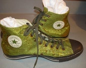 Vintage Green Brocade Converse Tennis Shoes /  Chuck Taylor  All Star/ Mens Size 11 /  Irridesant / Beautiful  Never Worn!!