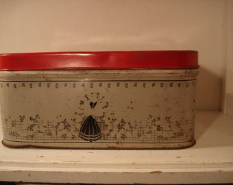 Vintage Metal Tin Bread Box  1940s  Girl in Garden    Red, Black and White   Farm Junk Pantry/ Cute Storage!