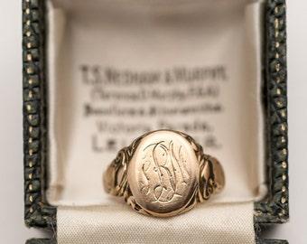 Unique Victorian Art Nouveau 10K Gold Monogrammed Signet Ring - man in nightcap design - size 6.75