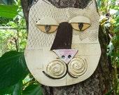 Abstract Kitty Mask  Ceramic Cat wall decor