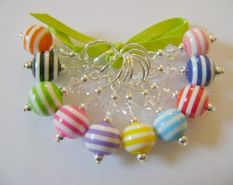 Rainbow Acrylic Stripe Stitch Markers for Knitting or Crochet