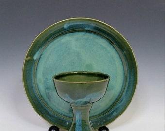 Chalice and Paten Ceramic Communion Set Blue Green