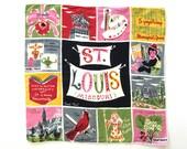 Vintage Handkerchief St. Louis Carl Tait Souvenir Missouri Hankie RARE Textile