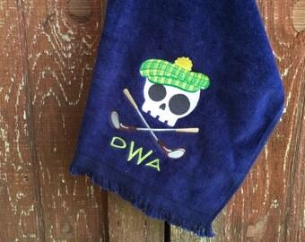 Skull golf towel