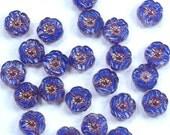 Hibiscus Flowers 9mm Sapphire Blue Stripe Copper Bronze Picasso Czech Glass Beads - 12
