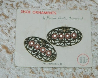 Vintage Shoe Clips Ornaments still on the original card Precision Buckles Incorporated Providence RI