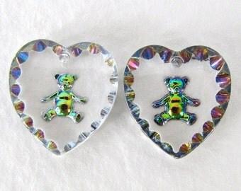Vintage Cameo Pendant Glass Heart Teddy Bear Bead Intaglio Vitrail 15x14mm vgb1098 (2)
