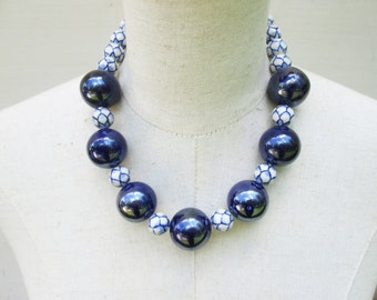 Huge Chunky Navy Blue White Lapis Beaded Necklace