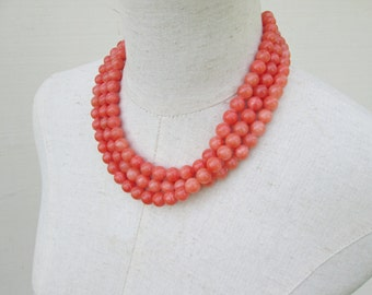 Coral Beaded Triple Strand Necklace , Peach Multi Strand Beads
