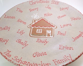 Personalized Christmas Platter - Family Heirloom Platter - Personalized Christmas Keepsake Plate - Hand Painted Ceramic Holiday Serving Dish