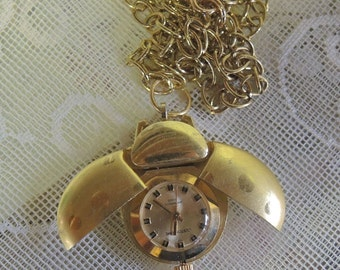 Gold Tone Lady Bug Watch Necklace - 30 Inch Chain - Opens And Closes