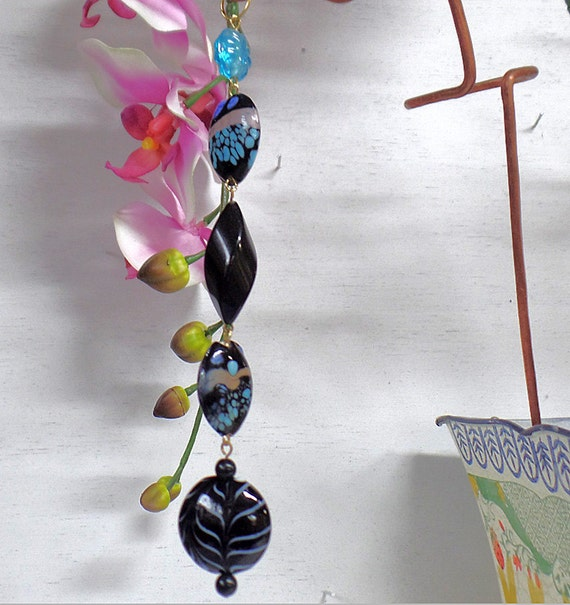Make An Eye Catching Jewelry Stand From Plumber S Copper: Orchid Stake Support Stake Blue Black Bead Copper By