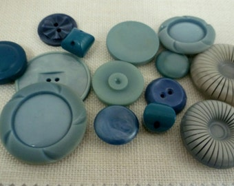 Vintage Buttons in Jade, Teal, Turquoise and Blue