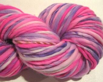 Super Bulky Handspun Yarn Fairy Tale 124 yards pink  purple yarn handdyed merino wool knitting supplies  waldorf doll hair knitting supplies