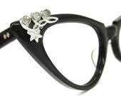 Vintage Black AO Cat Eye Glasses Eyeglasses Sunglasses Atomic Frame