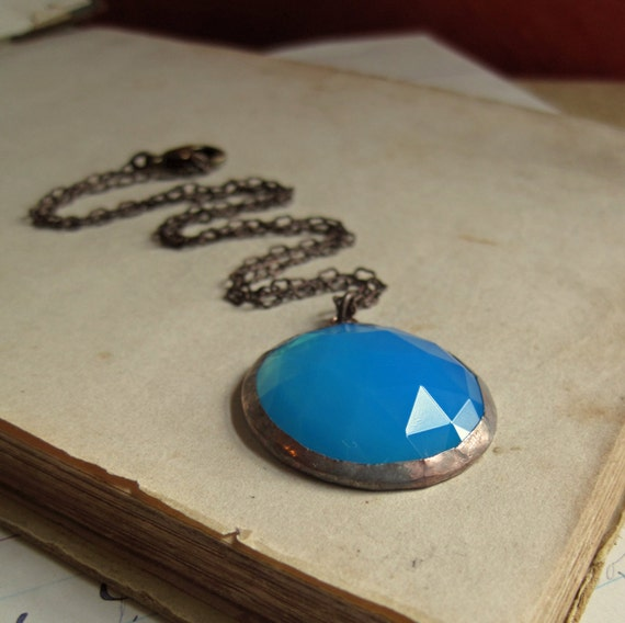 Aqua Opal Faceted Glass Necklace Stained Glass Jewelry