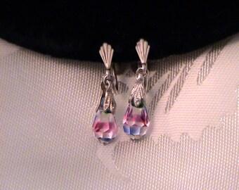 Vintage Sterling Iris Rainbow Glass Drop Earrings
