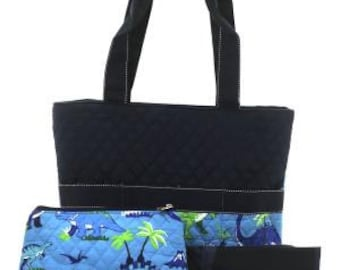Quilted Navy Blue Dinosaur Print Diaper Bag with Personalized Embroidery