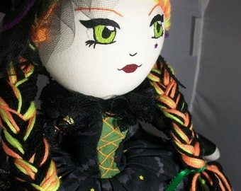 Rock Star Halloween Witch | Cloth Doll |OOAK