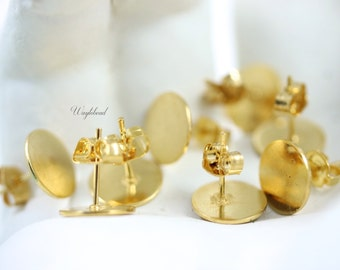Gold Plated Flat Pad Ear Studs and Clutches - 10mm