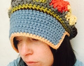 Sale Womens Large Brimmed Multi Colored Fall Patchwork Hat