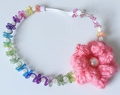 SALE Colorful Goddess Princess Girls Coral Crochet Flower Headband Newborn  Photography Prop