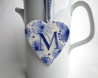 Dutch Delft blue - Letter M - personalized  - Monogram - Hand painted porcelain  Heart -  Blue and white Delftware Holland ornament