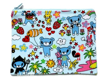 Blue Zipper Pouch Makeup Bag Cosmetic Pouch Blue Bear Zippered Bag Creepy Cute Travel Pouch Strawberry Bunny Bear