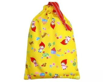 Kawaii Pouch Drawstring Bag Fairy Tale Red Riding Hood Yellow Toy Bag for Jewelry Makeup