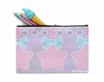 Zipper Pencil Pouch Makeup Bag Pastel Goth Sweet Lolita Pastel Stars Bows Kawaii Pouch Planner Accessories Zippered Bag Pastel Pouch