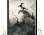 Hand Accented crow PRINT 5x7 matted 8x10 by Amy Brown