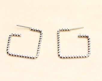 Silver Square Twist Hoop Earrings