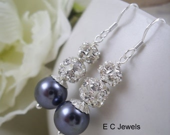SALE Pearl and Rhinestone Bridesmaids Earrings - Pick your Color
