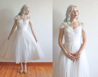 "1950s wedding dress / 1950s wedding gown / 50s white chiffon dress with full circle crinoline skirt / size s bust 34"" waist 26"""