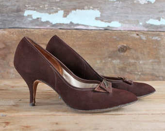 1960s shoes / size 5 / 1960s stilettos / 1960s brown leather heels