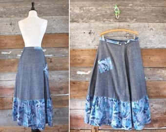 "1970s denim wrap skirt / denim maxi skirt / waist 31"""