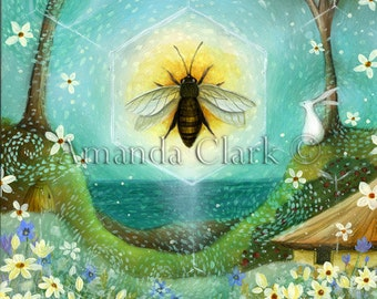 Special edition art print embellished with gold leaf.'Summer Solstice' by  Amanda Clark.