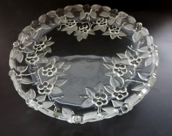 Vintage Crystal Platter - Mikasa Crystal Round Platter - Mikasa Platter in Carmen Pattern