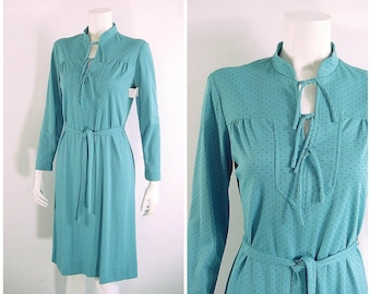 70s Vintage Day Dress NWT Tie Up V Neck Blue with Tiny Black Dots - Small to Medium
