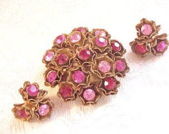 Vintage Pink Red Rhinestone Flower Pin Earrings Set