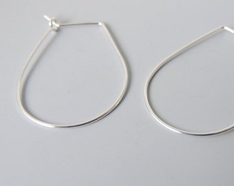"Drop Shaped Hoops Sterling Silver Lightweight Hoop Earrings 1.25"" inch"