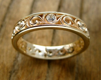 White Sapphire Spiral Ring in 14K Yellow Gold with Fine Floral Scroll Motif Size 10