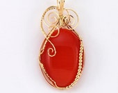 ON SALE Large Orange red Catseye pendant with 14k Gold Filled wire wrap - P84