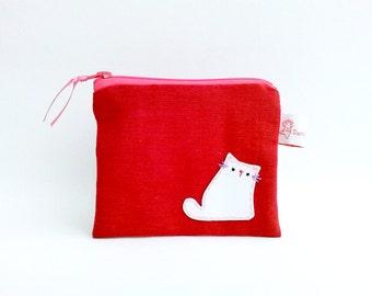 Cat Purse, Cat Coin Purse, Coin Purse, Cat Wallet, Cat Zipper Pouch, Cat Purse, Pink Linen Purse, Cat Pouch - Romantic Gift For Her