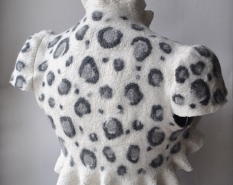 Clearance Leopard Bolero Shrug Felted Ivory, Grey, Charcoal New 2013 Animal Collection by TianaCHE