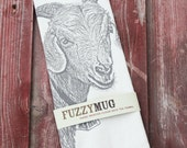 HOLIDAY SALE!  Goat Tea Towel - Hand Printed Flour Sack Tea Towel (Unbleached Cotton)