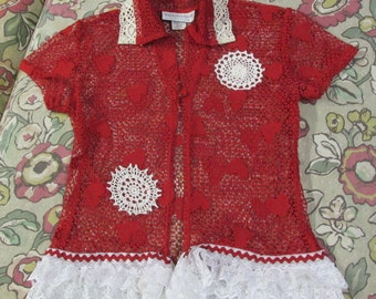 Upcycled red heart lace top blouse shrug sz S refashion lace & doilies Valentines Day