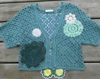 Upcycled jade green crochet shrug sz S refashion vintage doilies
