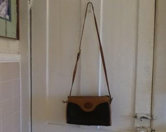 Dooney and Bourke 1980s Black Pebbled Leather Brown Purse Cross Body Shoulder Bag Handbag Medium
