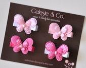 SPRING SALE Baby Hair Clips - Toddler Hair Clips - Girls Hair Bows - Infant Hair Clips - Pink Hair Bows